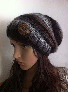 MOTHER'S DAY  black brown gray Slouch Beanie by LoreNovedades, $45.00