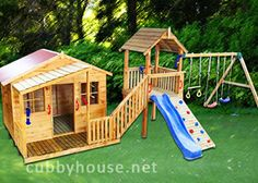 Wow what a beauty the Chipmonk Kindy Gym #cubbyhouse is. This has so much on offer for fun, exercise and play! A stunning outdoor playground for your kids! It's got a cubby house a fort, slide, rock climbing wall and 3 swings! Plenty of room for kids to play! Price: $2997.00  Size: 8000 x 3000