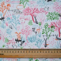 Tela de punto jardin feliz naranja & rosa  Tela de punto | telas estampadas | Algodón | Telas organicas | costura | costura facil | coser | coser a maquina | costura creativa | costura mexicana