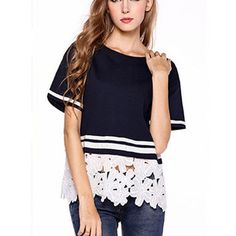 Short Sleeve Lace Embroidered Striped T-Shirt