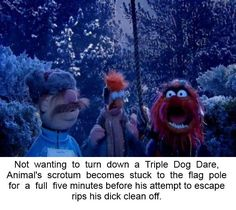 Not wanting to turn down a Triple Dog Dare, Animal's scrotum becomes stuck to the flag pole for a full five minutes before his attempt to escape rips his dick clean off. Super Funny Memes, Really Funny Memes, Stupid Memes, Funny Relatable Memes, Stupid Funny, Funny Jokes, Hilarious, Funny Stuff, Funny Insults
