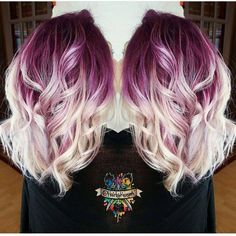 """Gorgeous deep lilac shadow root with vanilla white blonde shafts and ends by…"