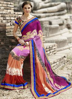 Stylish Look Good Party Wear Multi Color #Designer #PrintedSaree