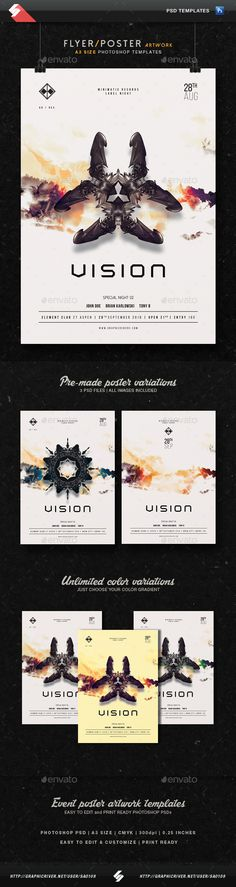Vision - Trance Party Flyer Templates A3