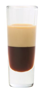 Buckeye Shot ~   Ingredients  Kahlua &  Bailey's Irish Cream  EASY  If you want a harder nut try a layer of Vodka on top.