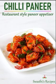 Indo-Chinese chilli paneer is anappetizer made with Indian cottage cheese, sweet sour & spicy chilli sauce. Indian Veg Recipes, Indian Dessert Recipes, Paneer Recipes, Chilli Recipes, Cheese Chilli Recipe, Chilli Paneer Recipe Video, Paneer Chilli Dry, Paneer Snacks, Tikka Recipe