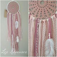 Attrape rêve Les Rêveuses personnalisable blanc et rose dream catcher
