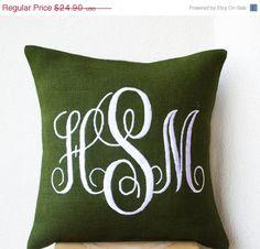 10 OFF Green Burlap Monogram Pillows Custom by AmoreBeaute on Etsy