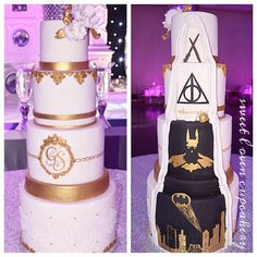Double sided cake- Gold elegance in the front Batman and Harry Potter surprise - Batman Wedding - Ideas of Batman Wedding - Double sided cake- Gold elegance in the front Batman and Harry Potter surprise in the back Made by Two sided Wedding cake Superhero Wedding Cake, Batman Wedding Cakes, Avengers Wedding, Gateau Harry Potter, Harry Potter Cake, Harry Potter Wedding, Geek Wedding, Our Wedding, Dream Wedding
