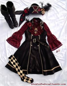 """ghostintheforest: """" Quick coord with my Chat Noir hat and necklace, since everyone else has been wearing theirs lately Alice and the Pirates- Hat, vest, belt, socks, chat noir necklace, rings, misc...."""
