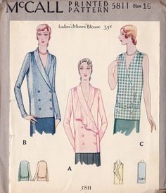 1920s Misses Blouse Vintage Sewing Pattern