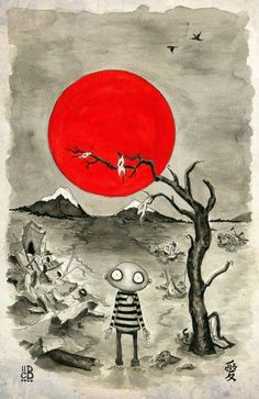 """UNDER THE SAME SUN, coryBasil @ etsy his stuff is interesting and all profits from the sales of this print will be donated to aid Japan via """"Conduit"""""""