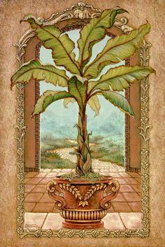 """CLASSICAL BANANA TREE  oil on canvas  36""""X24"""" Studio Price $ 1500. For tile mural:  www.tilemuralstore.com"""