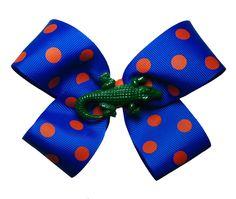 Large UF Florida Gators Orange and Blue Hair Bow. $6.00, via Etsy.