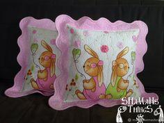 """Купить Оригинальная подушка для малышки """"Милые зайки"""" в интернет магазине на Ярмарке Мастеров"""