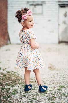 Lenox Dress and Headband in Kaleidoscope fabric line available at Windham Fabrics Little Lizard, Windham Fabrics, Pin Tucks, Ruffle Sleeve, Woven Fabric, Boy Outfits, Designer Dresses, Collars, Bodice