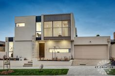 The eye catching facade of this 4 bedroom plus study, recently completed contemporary home issues an invitation to potential purchasers to further explore it. Real Estate Photography, Contemporary, Modern, House Plans, Mansions, Facades, Street, House Styles, Creative