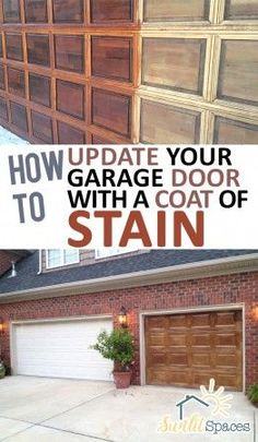 How to Update Your Garage Door With a Coat of Stain – - How to Update Your Garage Door, Easy Home Remodels, Easy Curb Appeal Projects, DIY Curb Appeal Proj - Garage Door Update, Garage Door Paint, Garage Door Makeover, Wood Garage Doors, Exterior Makeover, House Paint Exterior, Faux Wood Garage Door Diy, Garage Art, Garage Door Colors