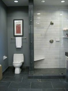 This would look good next to bedroom; grey tiles and white shower