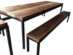 custom steel and reclaimed wood dining table by phweld on etsy