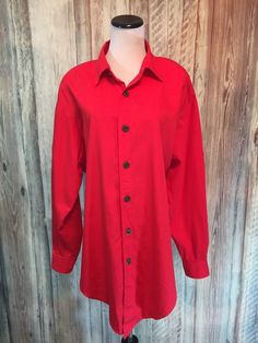 Vtg Gene Ewing BIS Red Shirt Jacket Hi Low 80s New Wave  Shoulder Pads sz L NWT! #GeneEwingBIS #Blouse