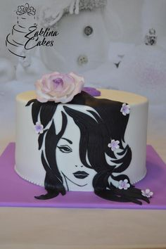Girl with flowers by Zaklina Twin Birthday Cakes, Elegant Birthday Cakes, Birthday Cakes For Women, Fondant Cupcakes, Cupcake Cakes, Hairdresser Cake, Diva Cakes, Painted Cakes, Cake Decorating Tutorials