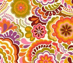 Autumn Swirls_large scale white fabric by chulabird on Spoonflower - custom fabric