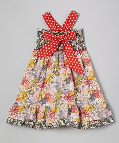 This Lele Vintage White & Red Floral Bow Dress - Toddler & Girls by Lele Vintage is perfect! #zulilyfinds