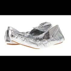 NWT Nine West Trenti silver leather loafers Chic silver leather flats add a bit of luxe to work or casual looks. New with tags and box. Size 7.5- True to size. Nine West Shoes Flats & Loafers