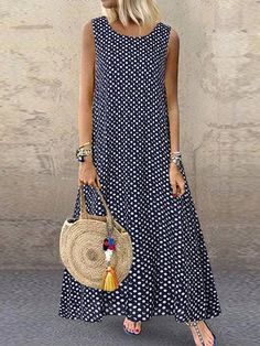 Fashion O-NEWE Casual Polka Dot Print Sleeveless Plus Size Dress with Pockets{ NewChic Mobile - Plus Size Casual Dresses - Ideas of Plus Size Casual Dresses Plus Size Maxi Dresses, Casual Dresses, Summer Dresses, Dresses Dresses, Linen Dresses, Dance Dresses, Short Dresses, Vestido Casual, Maxi Robes