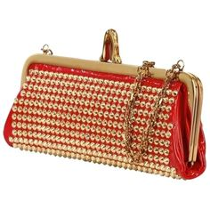 Pre-owned Christian Louboutin Louboutin Miss Loubi Red/gold Clutch (132460 ALL) ❤ liked on Polyvore featuring bags, handbags, clutches, red clutches, christian louboutin purse, christian louboutin handbags, pre owned handbags and red handbags