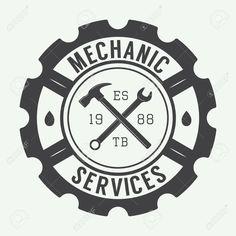 Vintage Mecánico Sello, Emblema Y Logotipo. Ilustración Vectorial Ilustraciones Vectoriales, Clip Art Vectorizado Libre De Derechos. Image 44125124.