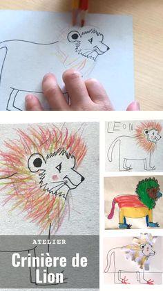 Retrouvez le tutoriel de dessin de ce Lion dans mon blog pour faire cette activité de dessin de crinière de Lion avec vos enfants. Sur la vidéo, la crinière est réalisée avec deux crayons de couleurs scotchés ensemble.