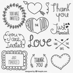 Free vector Wedding elements in hand drawn style Lettering Brush, Doodle Lettering, Creative Lettering, Doodle Drawings, Doodle Art, Wedding Icons, Kaktus Illustration, Doodle Wedding, Bullet Journal Planner