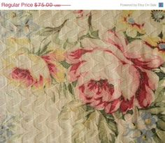 Spring Cleaning SALE Lovely Shabby Vintage Barkcloth by RuinsCa, $60.00