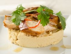 Gebratenes Huhn in Marinade mit Sojabohnenpüree - Rezept