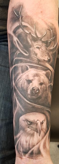 Stag bear and eagle  tattoo