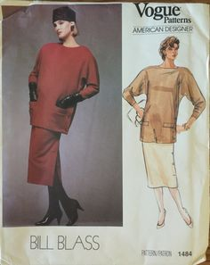 """VTG 1484 Vogue (1984) American Designer by Bill Blass.  Misses' top & skirt.  Size 8, Bust 31-1/2"""".  Complete, unused, FF. Excellent cond. by ThePatternParlor on Etsy"""
