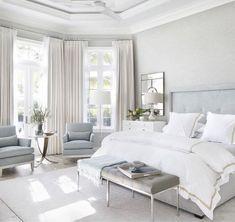 38 Look Luxurious With a White Master Bedroom Design Ideas - A master bedroom should be the perfect retreat from whatever is going on in the rest of the home and place where you can really kick -back and relax. Bedroom Nook, Home Decor Bedroom, Bed Room, Bedroom Furniture, Bedroom Curtains, Seating In Bedroom, Bedroom Ideas Grey, Quirky Bedroom, Classic Bedroom Decor