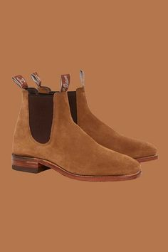 R.M. Williams Craftsman Chelsea boots in cognac suede. New to our men's collection for Spring Summer 2020. #rmwilliams #robinsonsshoes #suedechelseaboots Shoe Horn, Suede Chelsea Boots, Shoe Tree, Goodyear Welt, Toe Shape, Men's Collection, Types Of Shoes, New Shoes, Craftsman