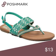 Women Emerald Slingback Thong Flat Sandals S1408 Women black thong flat sandals. They have woven rhine stones. Perfect for walks on the beach. If you are taking a vacation, these sandals will show everyone that you know fashion! Victoria K Shoes Sandals