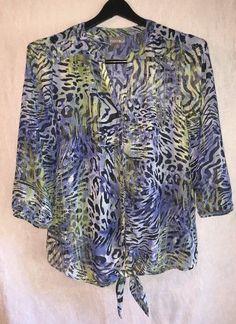 1779992d9ecc5 ROZ   ALI Medium Animal Print Tie Front Blue Chiffon Semi Sheer Blouse 3 4  Sleev