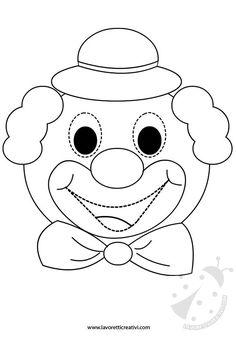 Maschera da incollare su cartoncino, ritagliare e indossare per il periodo di Carnevale. Circus Birthday, Circus Theme, Circus Party, Clown Crafts, Carnival Crafts, Fall Arts And Crafts, Diy Crafts For Kids, Art Drawings For Kids, Drawing For Kids
