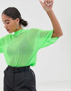 Find the best selection of ASOS DESIGN oversized mesh t-shirt in neon green. Shop today with free delivery and returns (Ts&Cs apply) with ASOS! Neon Green Outfits, Sporty Outfits, Rave Outfits, Green Fashion, Colorful Fashion, Girl Fashion, Fashion Outfits, Fashion Trends, T Shirt Vert