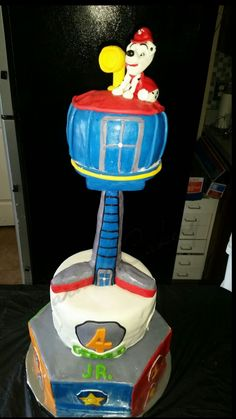 Paw Patrol tower cake by @carnells_cakery #DallasTx #cakequeen #scratchandbake #couturecakes #customcakes