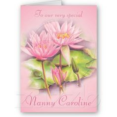 Sold to UK my original fine art Water lily floral pink nanny birthday card by Sarah Trett