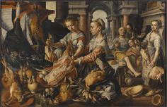 Kitchen Scene with Christ in the House of Martha and Mary 16th Century, Christ, Mary, Scene, Artwork, Painting, Public Domain, Kitchen, House