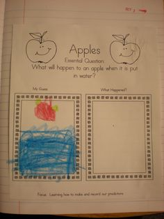 Apple sink and float activity. Meets standard and has essential question.