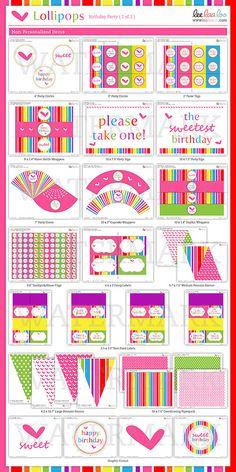 Lollipop Birthday Party Mega Set PERSONALIZED by LeeLaaLoo, $35.00