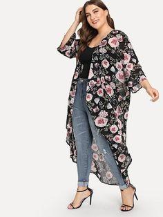 Plus Floral Print Dip Hem Kimono Plus Size Concert Outfits, Plus Size Outfits, Chiffon Kimono, Chiffon Fabric, Floral Chiffon, Look Plus Size, Plus Size Women, Plus Size Ivory Dresses, Plus Size Kimono